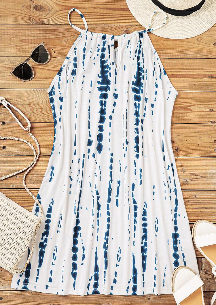 Tie Dye Hollow Out Halter Mini Dress - White