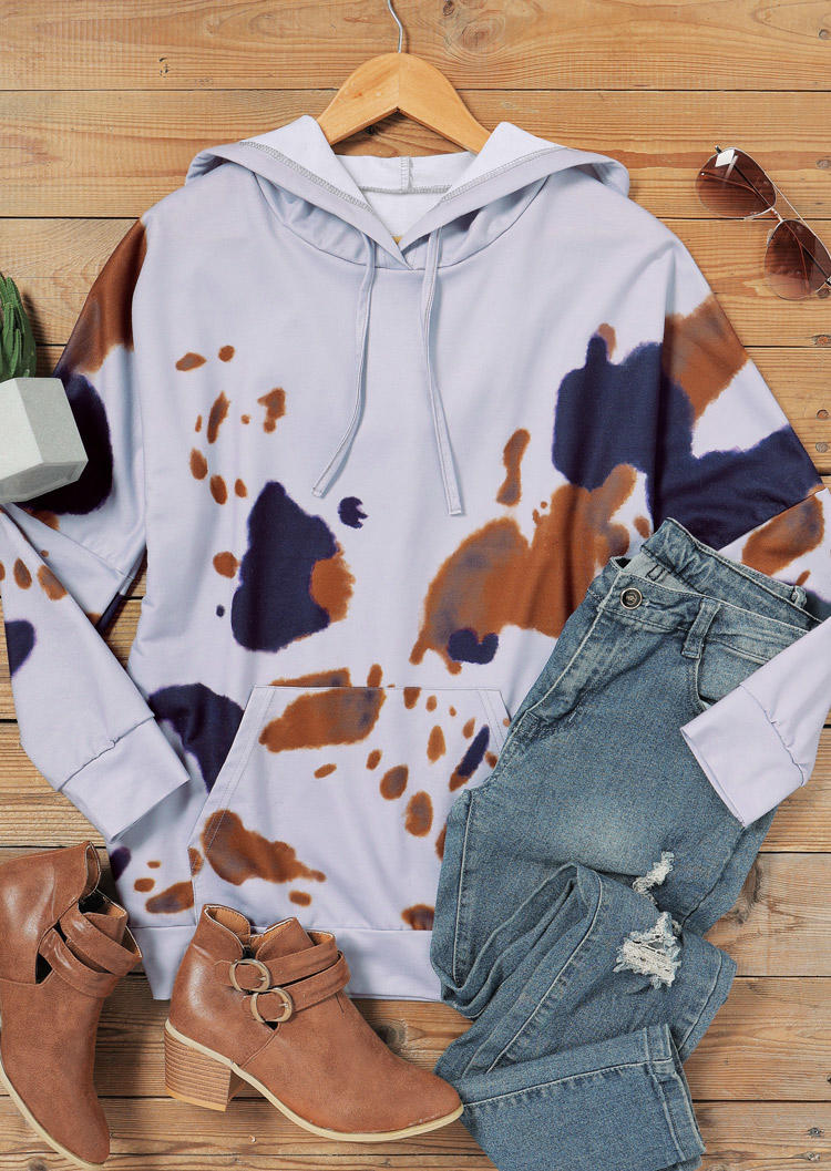 Cow Kangaroo Pocket LongSleeve Hoodie - Gray