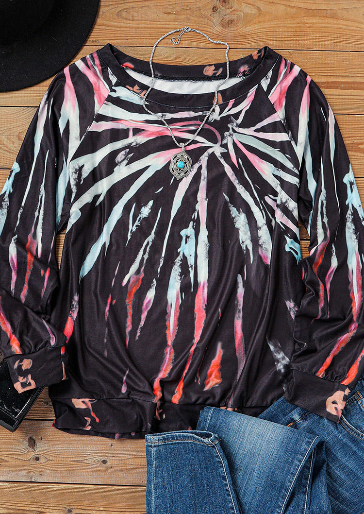 Tie Dye Long Sleeve O-Neck Sweatshirt - Black
