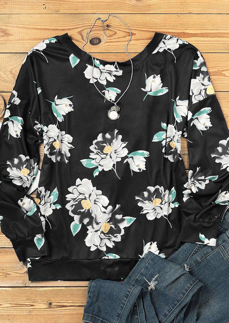 Criss-Cross Floral LongSleeve Blouse