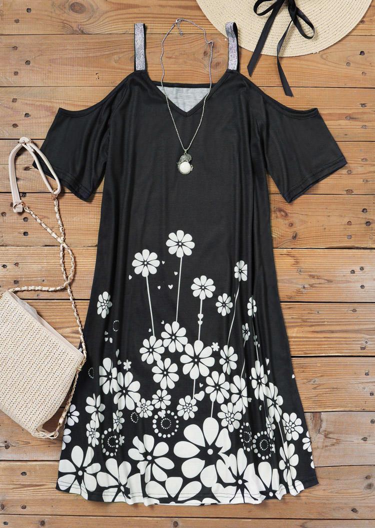 Floral Cold Shoulder Short Sleeve Mini Dress - Black