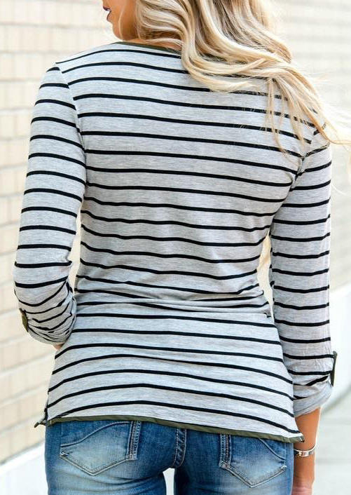 Striped Button Notched Neck Casual Blouse - Gray