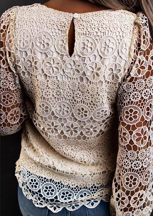 Lace Hollow Out Button LongSleeve O-Neck Blouse - Apricot