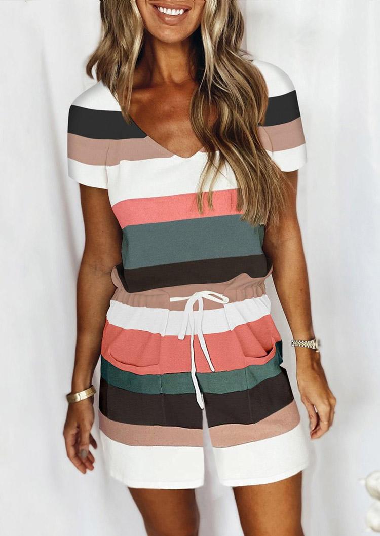 Color Block Striped Drawstring Pocket Romper