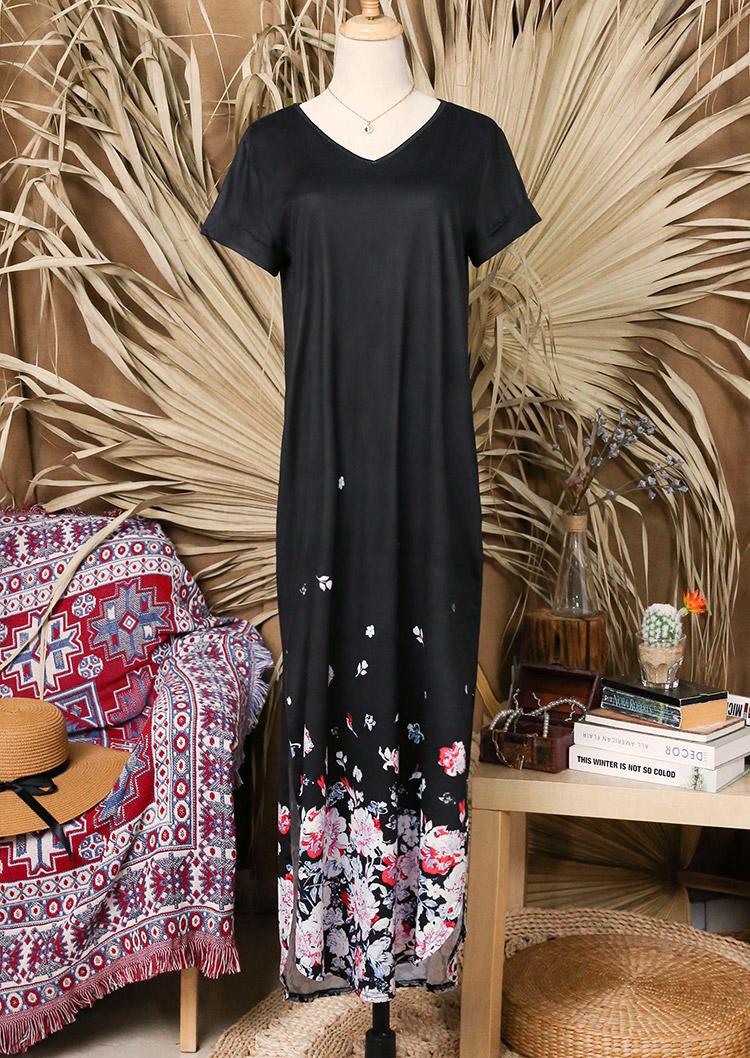 Floral Short Sleeve V-Neck Maxi Dress - Black