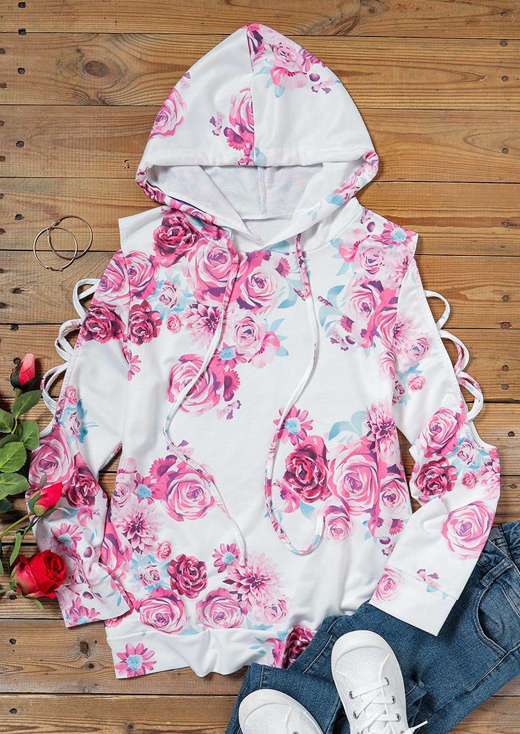 Floral Drawstring Cold Shoulder Criss-Cross Hoodie