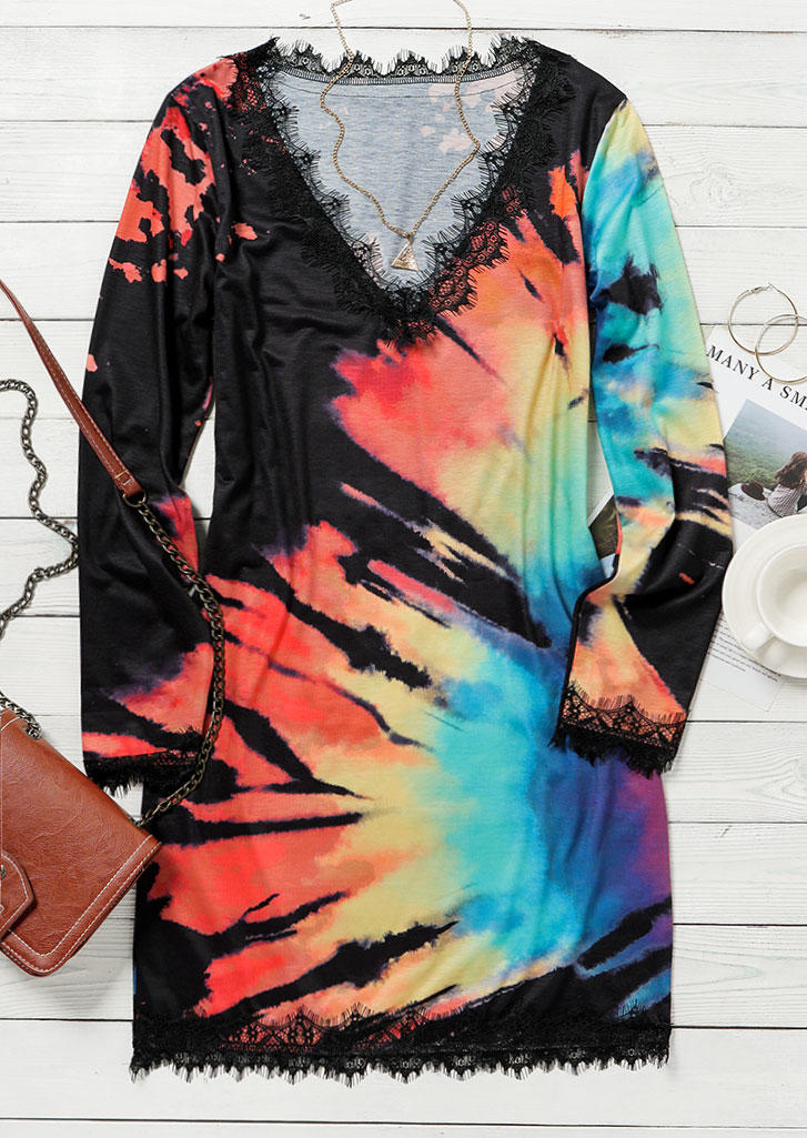 Lace Reverse Tie Dye Rainbow Mini Dress