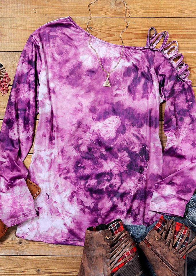 Tie Dye Criss-Cross One Sided Cold Shoulder Blouse - Purple