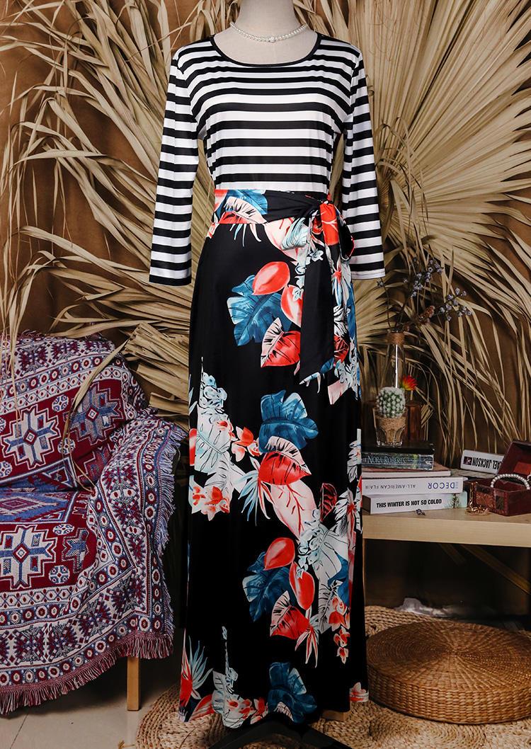 Striped Floral O-Neck Maxi Dress