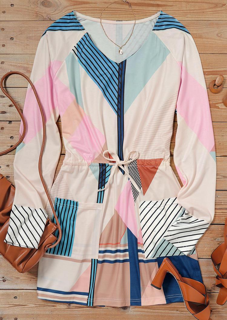 Striped Geometric Drawstring Pocket Mini Dress