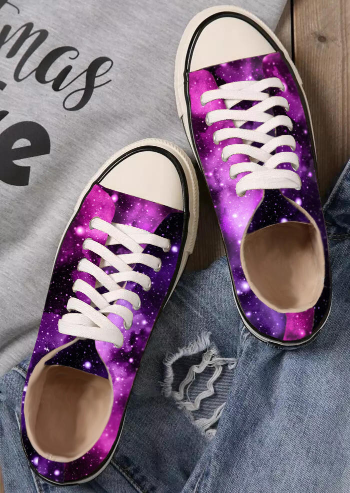 Starry Sky Lace Up Flat Canvas Sneakers - Purple, 512849