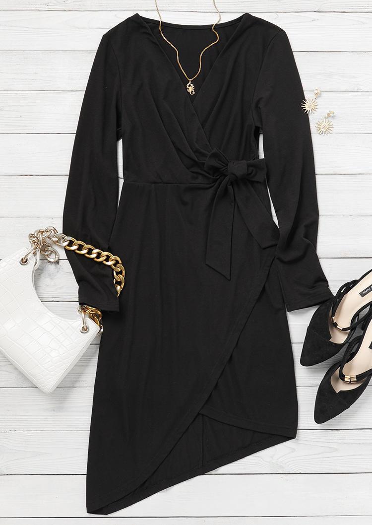 Wrap Tie V-Neck Mini Dress - Black