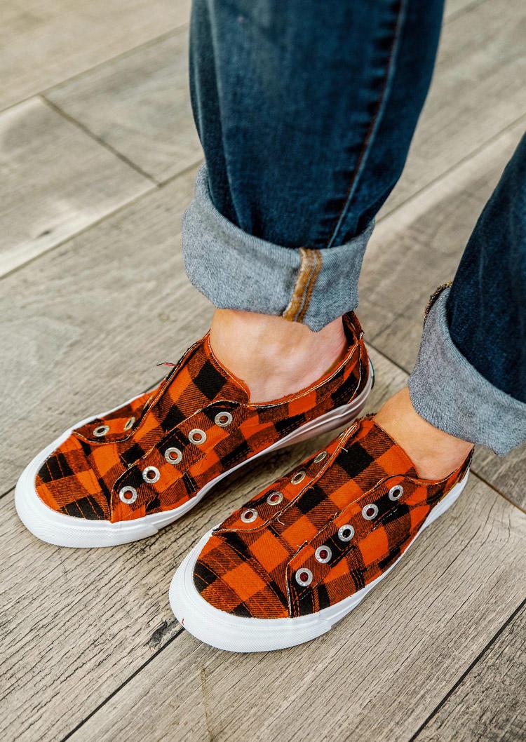 Plaid Slip On Round Toe Sneakers - Orange