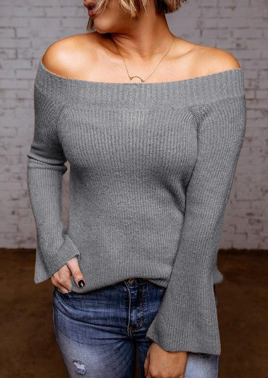 Off Shoulder Flared Sleeve Knitted Sweater - Gray