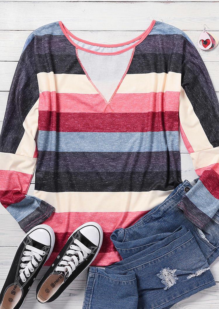 Colorful Striped Splicing Mesh O-Neck Blouse