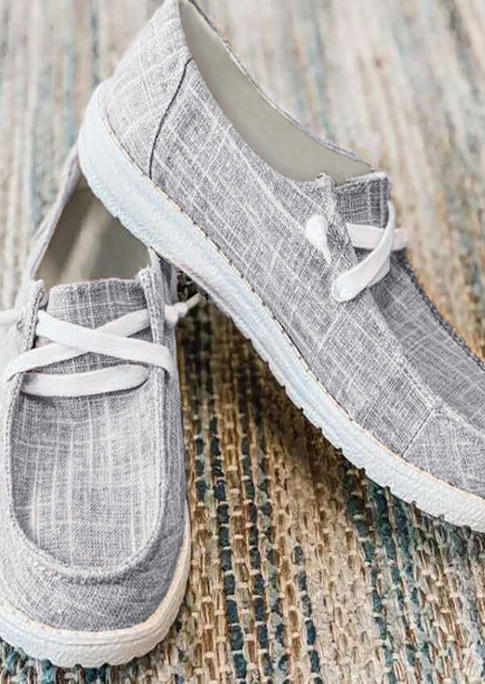 Slip On Flat Canvas Sneakers - Gray
