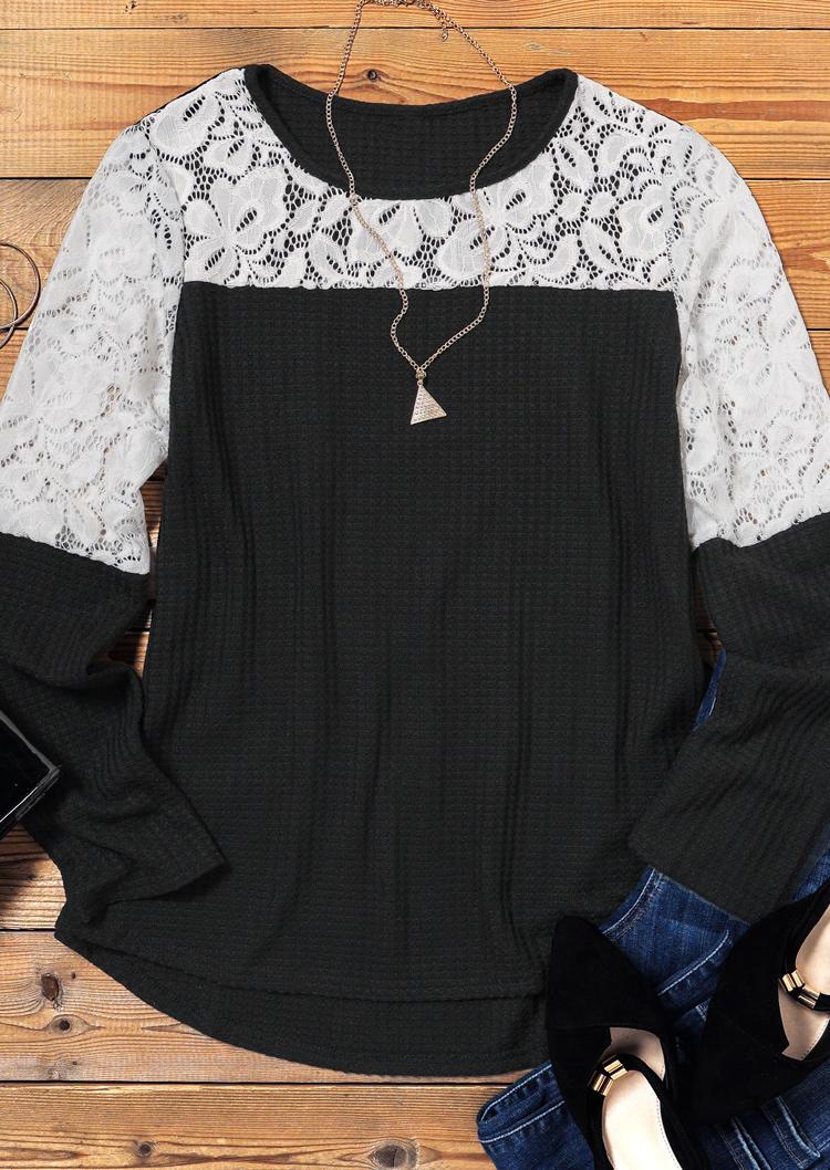Lace Splicing Waffle Long Sleeve Blouse - Black