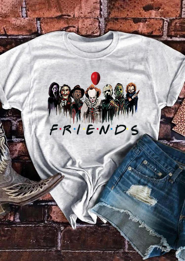 Halloween Horror Movie Characters T-Shirt Tee - Light Grey