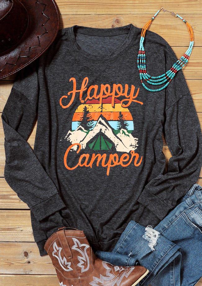 Happy Camper Striped Pocket Blouse - Dark Grey