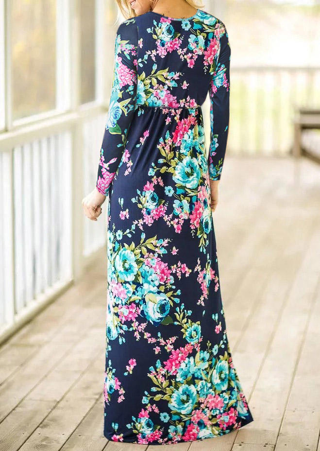 Floral Pocket Long Sleeve Maxi Dress