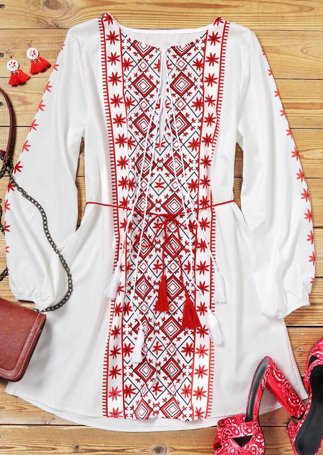 Ethnic Style Tassel Drawstring Long Sleeve Mini Dress - White