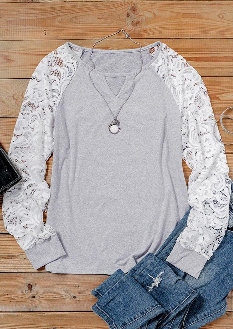 Lace Keyhole Neck Raglan Sleeve Blouse - Gray