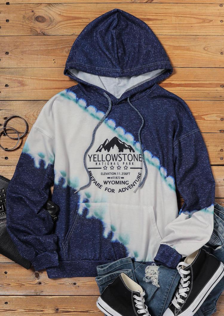 Mountain Prepare For Adventure Drawstring Hoodie - Deep Blue