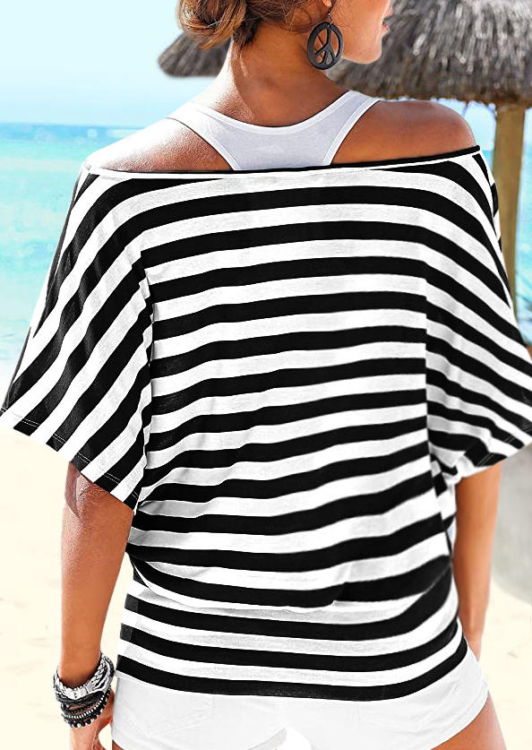 Striped Off Shoulder Batwing Sleeve Blouse without White Tank