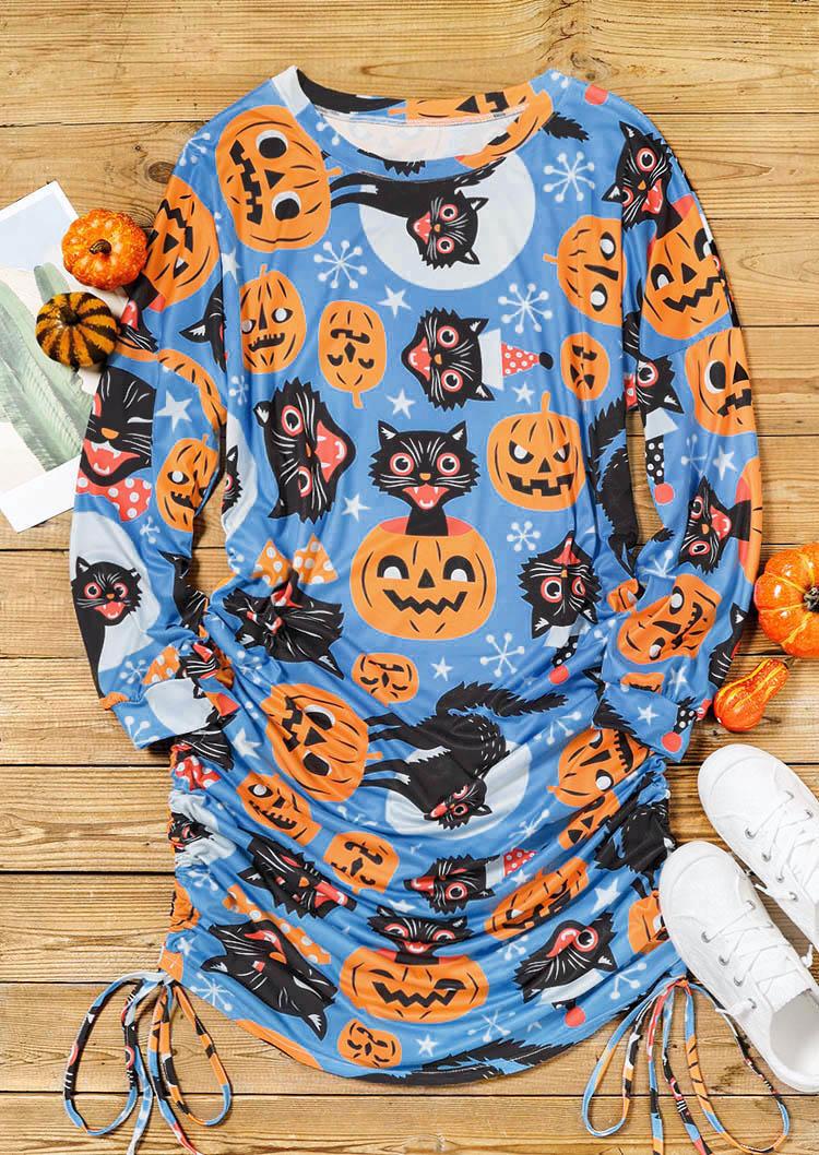 Halloween Pumpkin Black Cat Drawstring Ruched Mini Dress - Blue