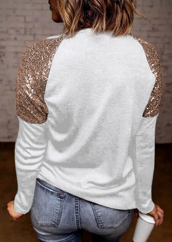 Sequined Splicing O-Neck Long Sleeve Blouse - White