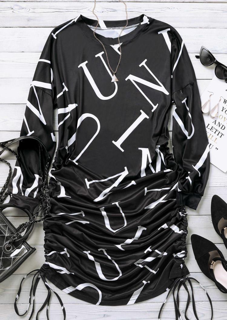 Letter Graphic Drawstring Long Sleeve Mini Dress - Black