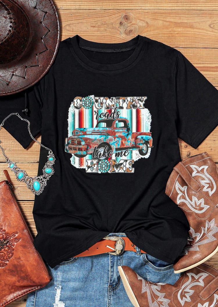 Car Country Roads Take Me Home T-Shirt Tee - Black