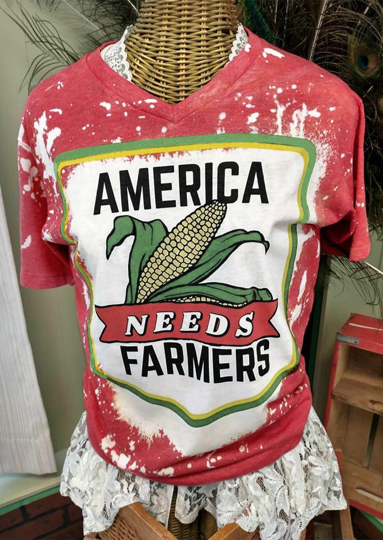 Bleached America Corn Needs Farmers T-Shirt Tee - Brick Red