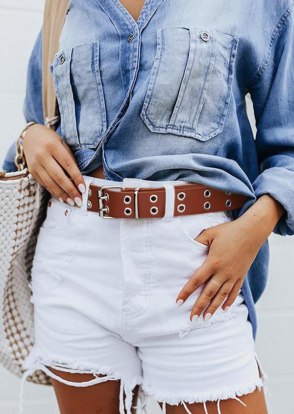 Eyelet Decor Metal Buckle PU Leather Belt