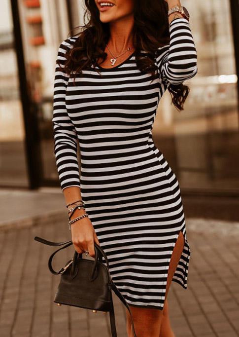 Striped Slit Long Sleeve Bodycon Dress