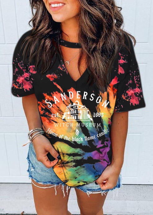 Halloween Home Of The Black Flame Candle Tie Dye Blouse