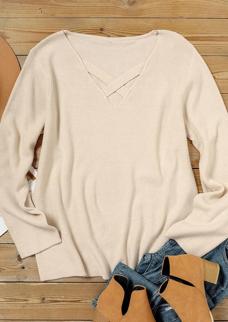 Criss-Cross Long Sleeve Casual Sweater - Khaki