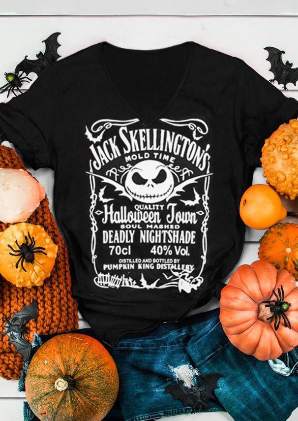 Halloween Jack Skellington's Brewery V-Neck T-Shirt Tee - Black