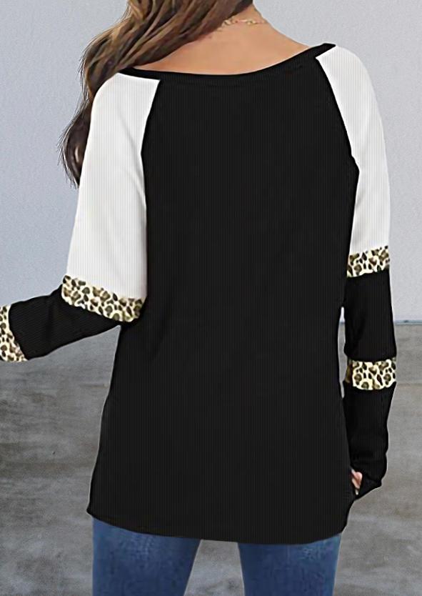 Leopard Splicing Color Block Blouse - Black