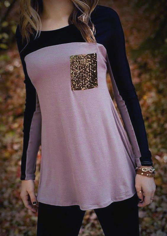 Color Block Sequined Pocket Long Sleeve Blouse - Purple