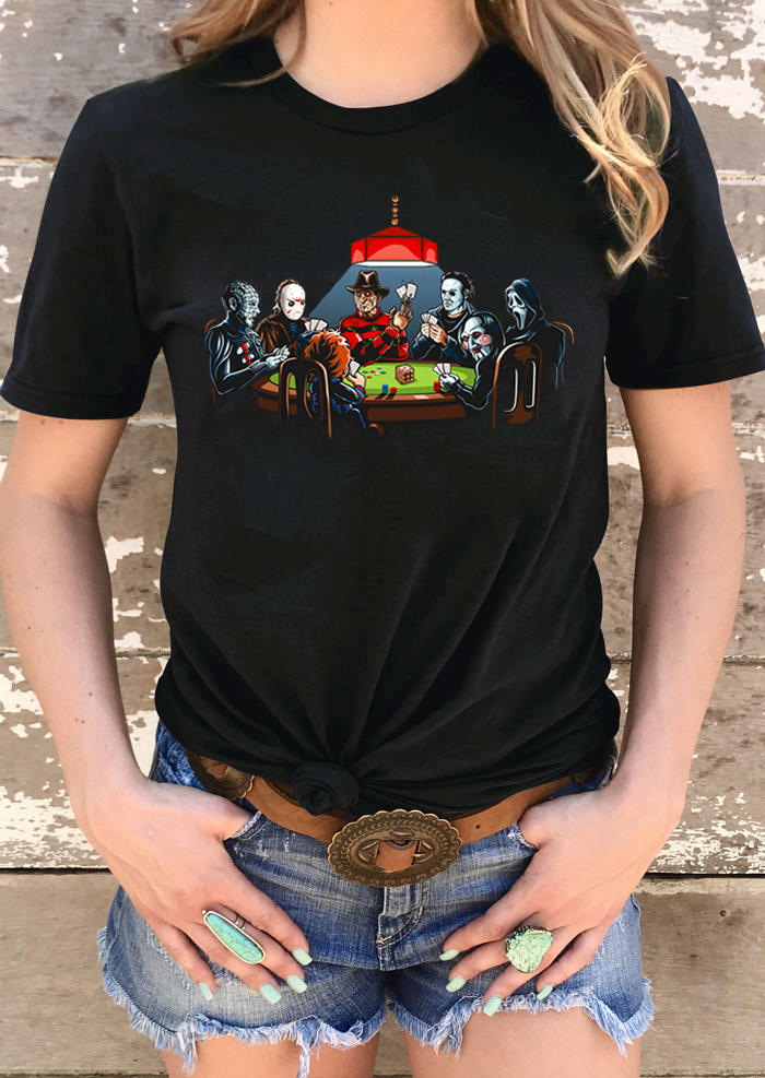 Halloween Horror Movie O-Neck T-Shirt Tee - Black