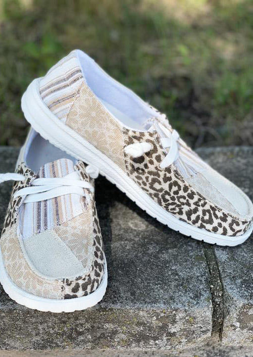 Leopard Striped Splicing Floral Round Toe Flat Sneakers
