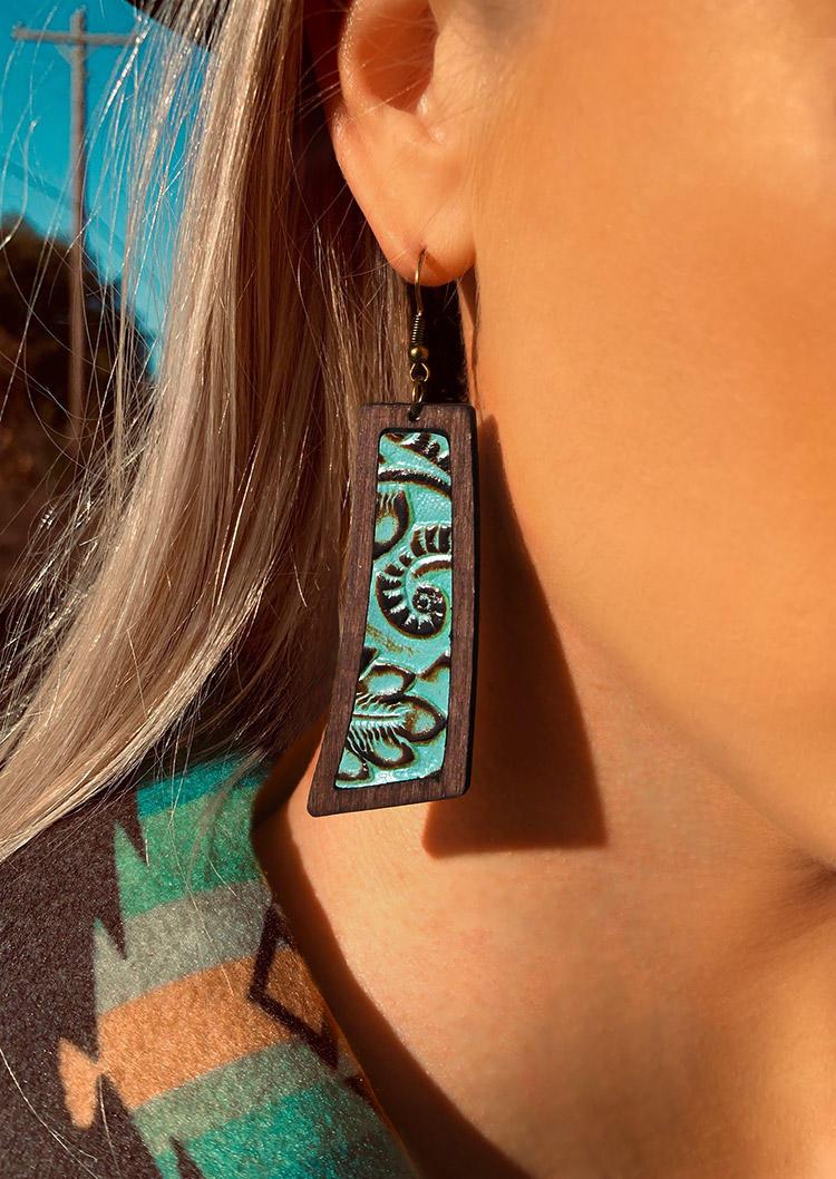Vintage Embossed Geometric Earrings
