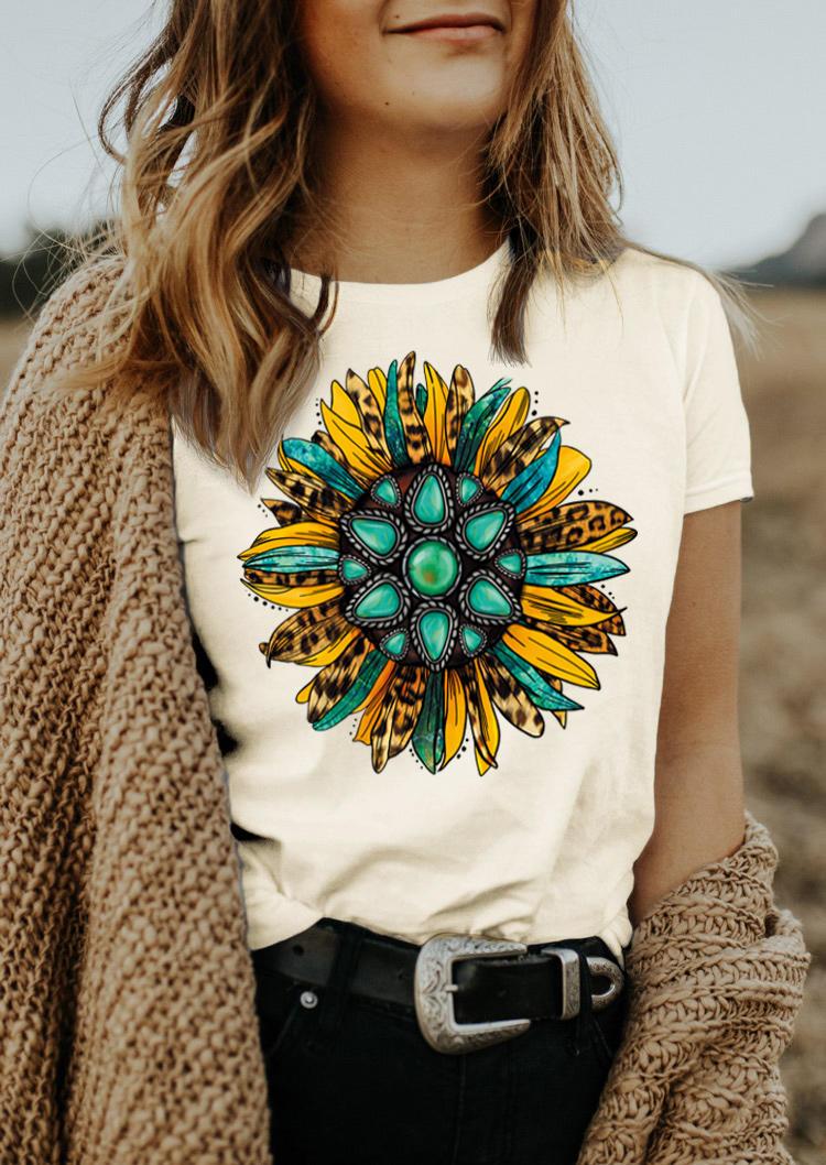Leopard Sunflower Turquoise O-Neck T-Shirt Tee - Beige
