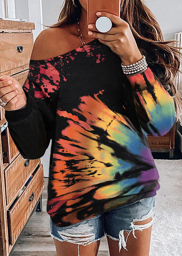Reverse Tie Dye Rainbow Long Sleeve Sweatshirt