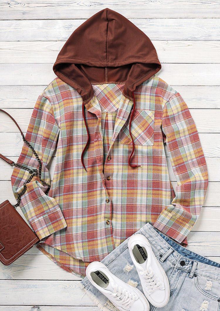 Plaid Button Long Sleeve Hooded Shirt