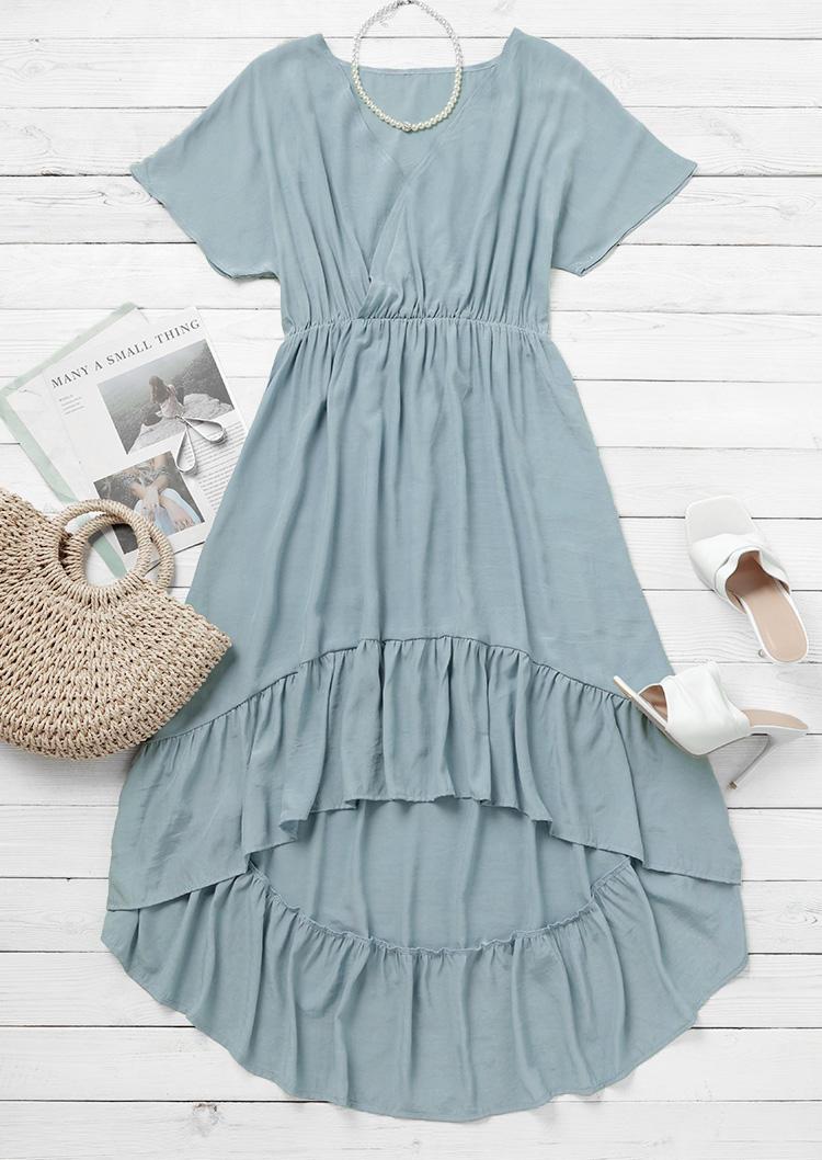 Ruffled Wrap Asymmetric Maxi Dress - Light Blue