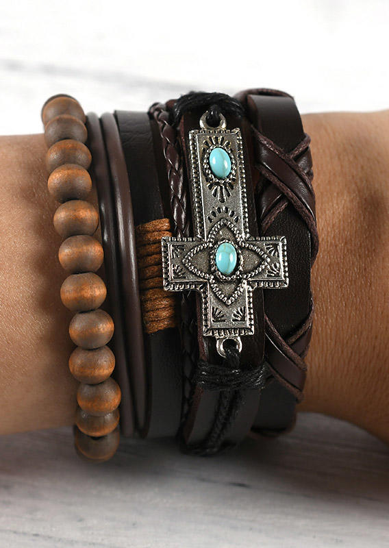 4Pcs Turquoise Cross Beading Leather Bracelet Set