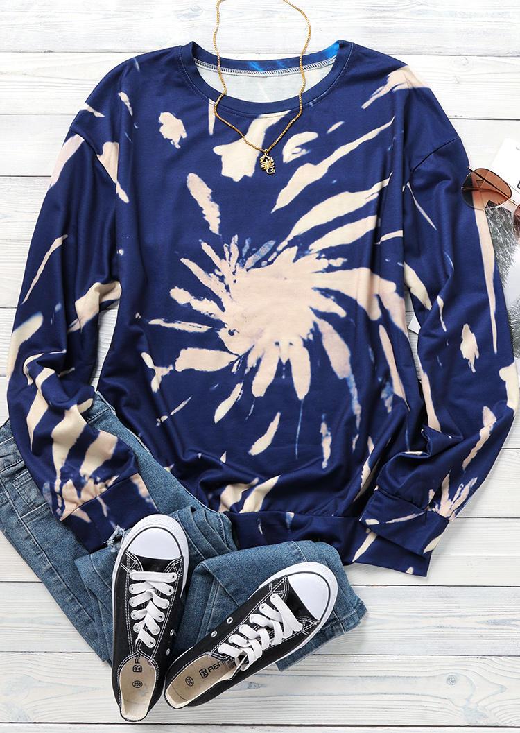Tie Dye O-Neck Casual Sweatshirt - Blue