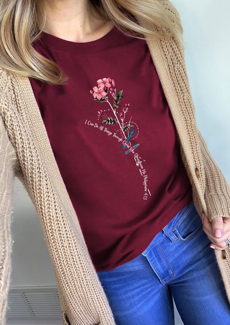 I Can Do All Things Floral T-ShirtTee - Burgundy